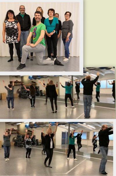 Tanssiharjoitus samban tahtiin, tasokkaat opettajat Tero Laakso ja Peppi Haapala opastivat mm. Baila con Parkinsonin askeliin 4.11.2019
